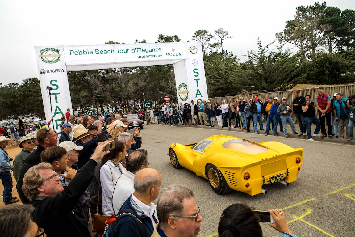 1967 Ferrari 412 P Competizione at the start of the Pebble Beach Tour d'Elegance