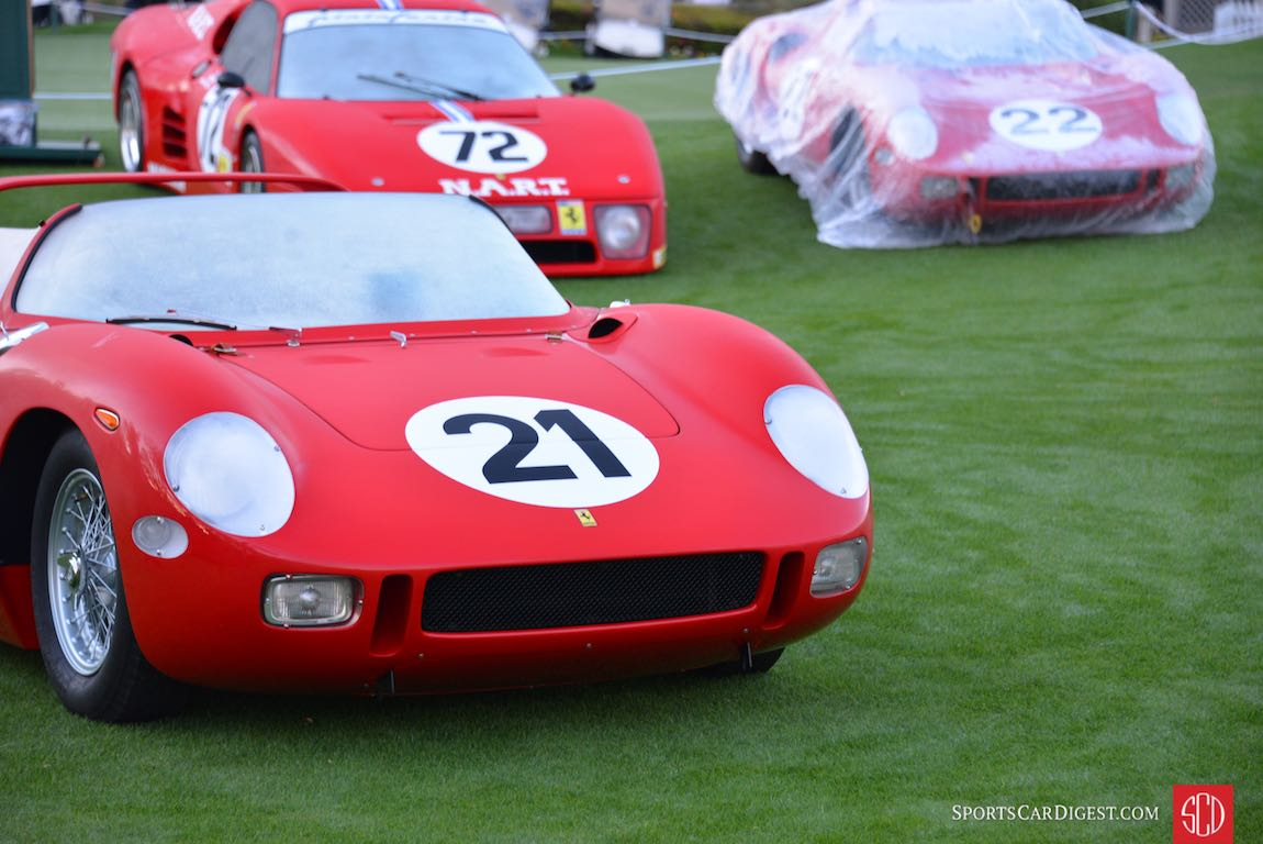 This Ferrari 275P was first raced by Scuderia Ferrari in 1963 where it crashed at the 1000 km of Nurburgring. It was rebuilt and raced at the 24 Hours of Le Mans and won with Ludovico Scarfiotti and Lorenzo Bandini at the helm. It was subsequently sold to NART and raced by John Surtees, Pedro Rodriquez and finally by Luigi Chinetti Jr.