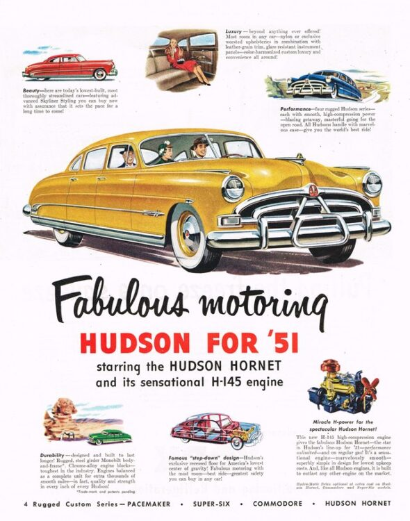 Advertisement for Fabulous Hudson Hornet