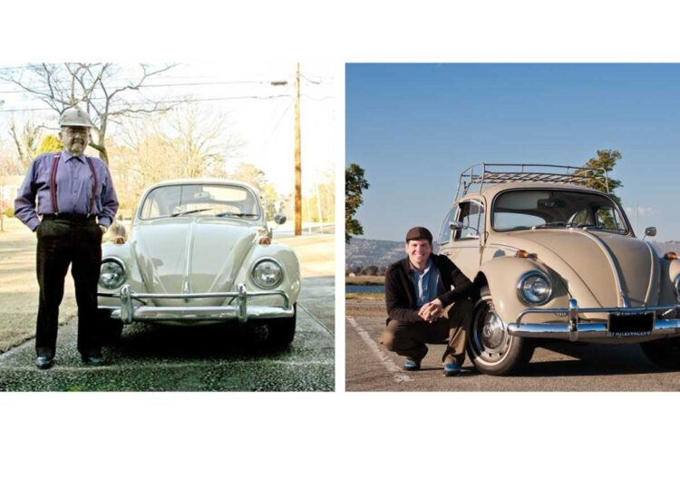 (left)Frank Shoemaker and (right) Eric Shoemaker in front of their VW Beetle