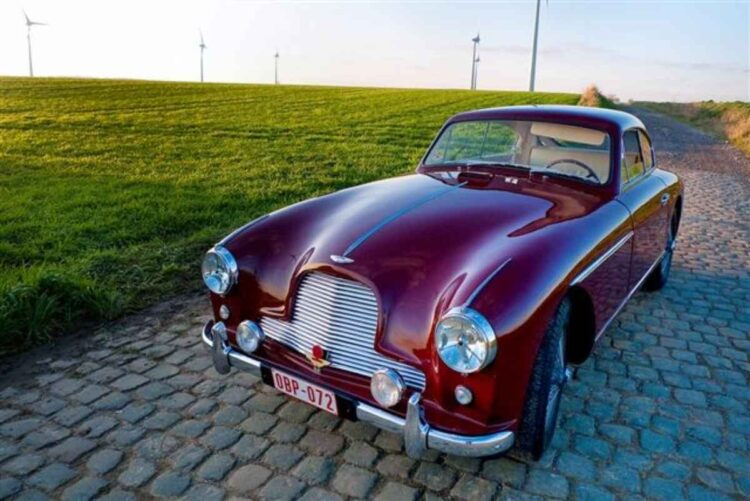 front of 1955 Aston Martin DB2/4 3.0-liter sports saloon