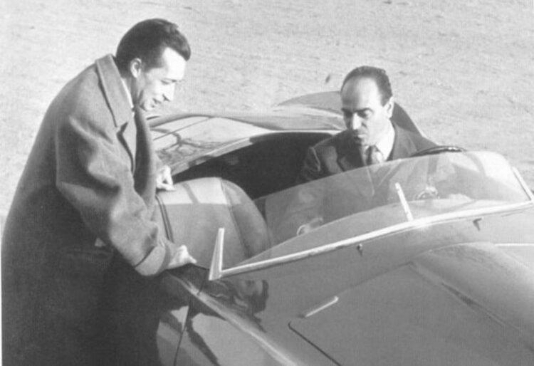 Franco Scaglione and Nuccio Bertone with a 1953 Arnolt/Aston Martin DB2/4