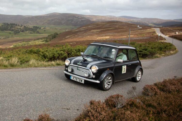 Edmund Peel and Sarah MacDonald in the Mini Cooper racing at 2020 Highland 1000 Classic Rally