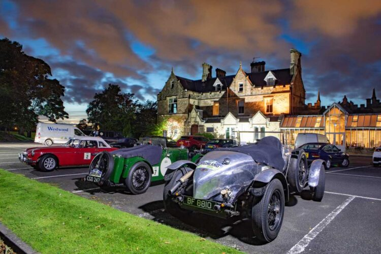 Reto Mebes & Hansjurgen Benze's  1930 Bentley 4½ Litre at rest during 2020 Highland 1000 Classic Rally