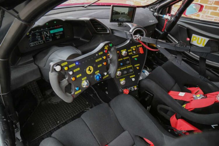 steering wheel of the Ferrari 488 Challenge Evo