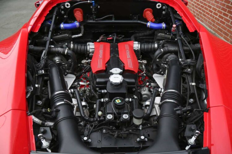 Engine of the Ferrari 488 Challenge Evo