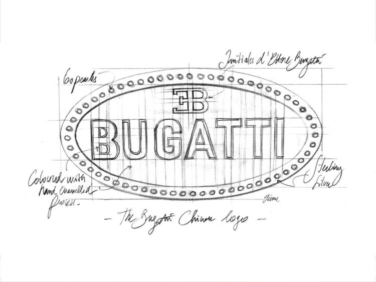 sketch of Bugatti badge