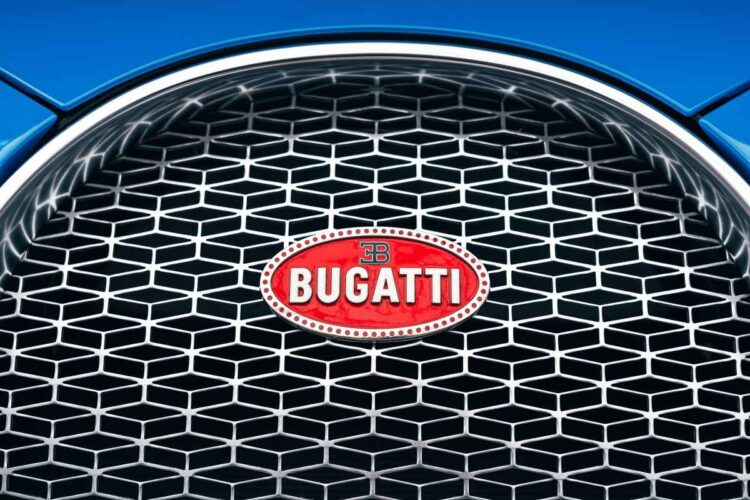 Bugatti badge on radiator