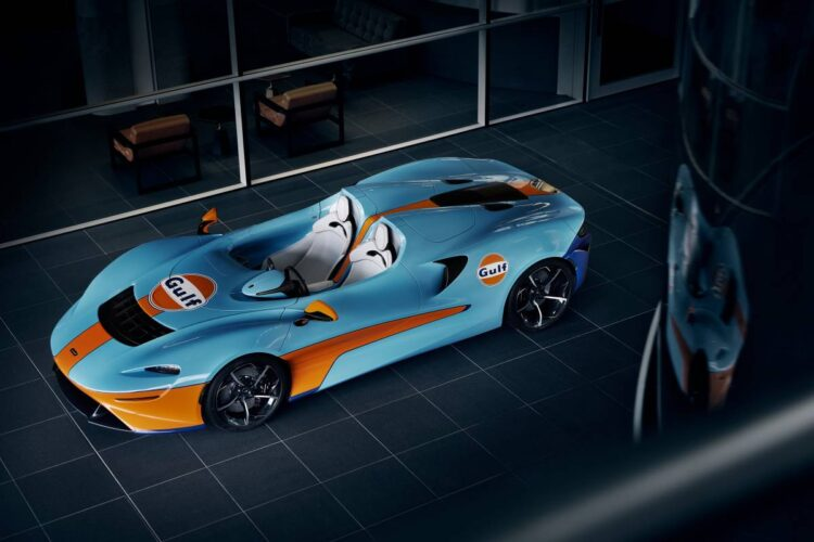side profile of McLaren Elva Gulf Theme