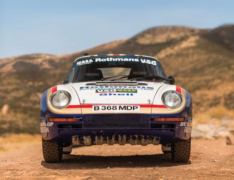 front of 1985 Porsche 959 Paris-Dakar