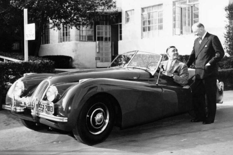 Clark Gable and Sir William Lyons at MGM Studios with Gable's first XK 120
