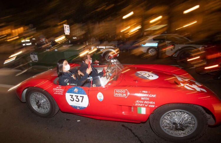 Paolo Berton and Laura Caccaro in the 1955 Maserati 150 S