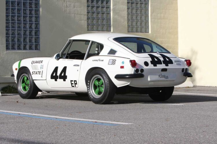 rear of 1969 Triumph GT6+ Group 44 Factory SCCA Racing Car.