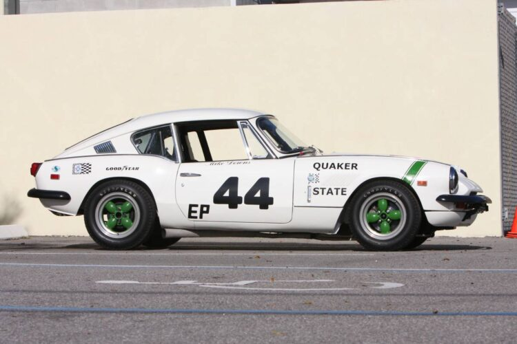 side profile of 1969 Triumph GT6+ Group 44 Factory SCCA Racing Car.