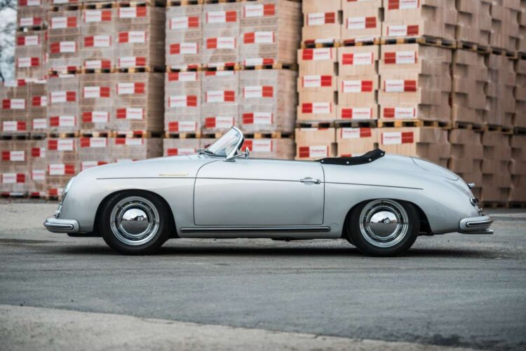 side of 1955 Porsche 356 Pre-A 1600 Speedster by Reutter