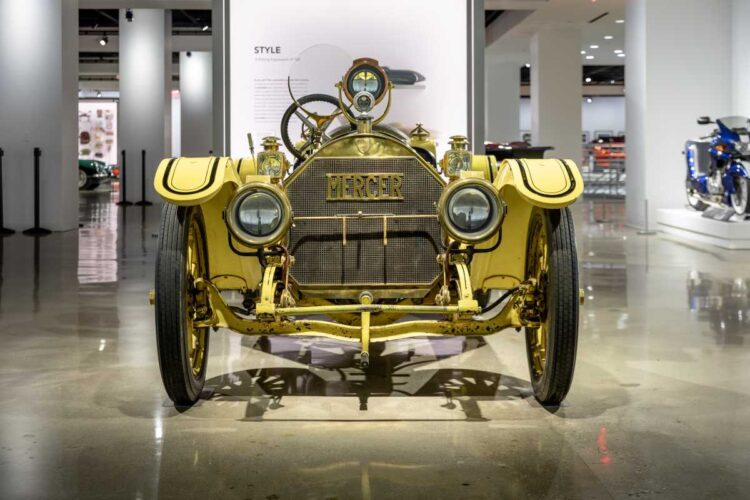 front of 1913 Mercer Type 35-J Raceabout  Petersen Automotive Museum
