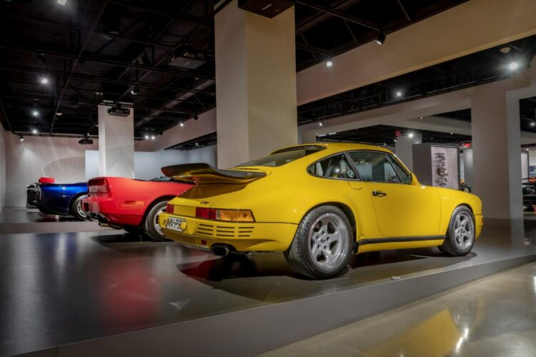 rear of 1989 RUF Porsche CTR Yellowbird #001