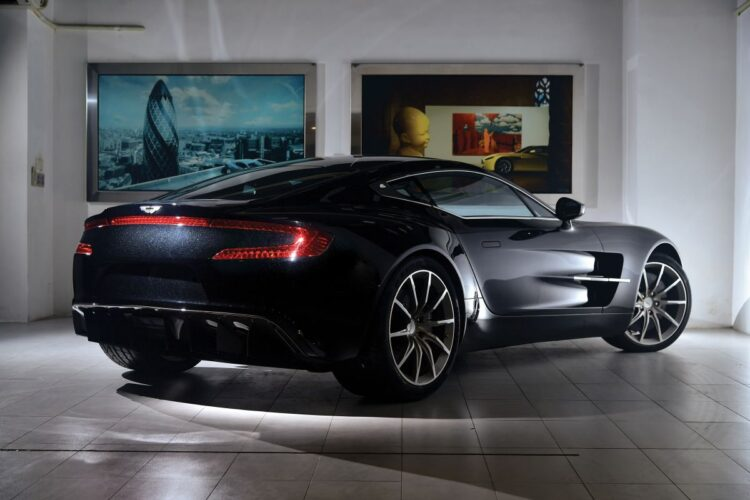 rear of 2011 Aston Martin One-77 with lights