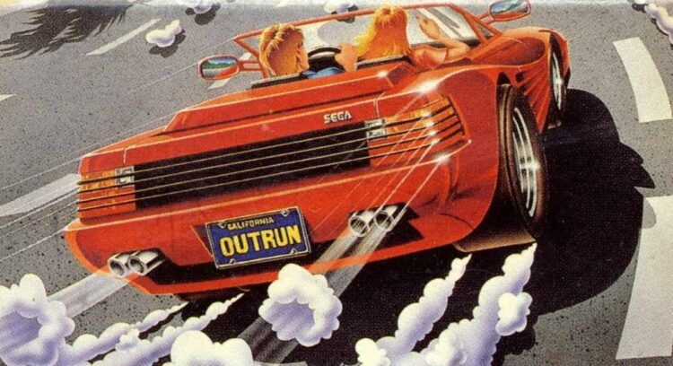 Sega Outrun with red Testarossa drop top