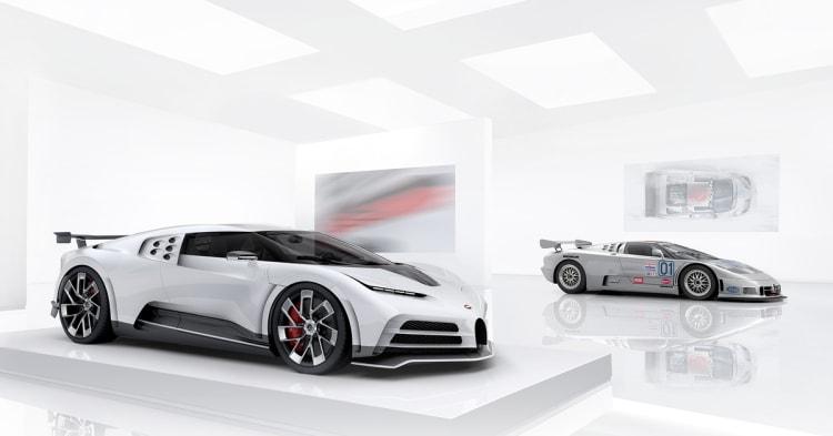 Bugatti Centodieci in front of the EB110 SS