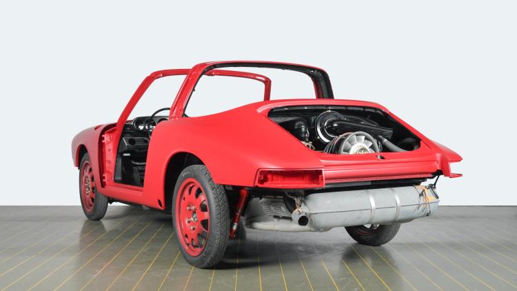 rear of repainted red car