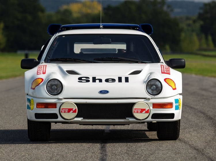 front of 1986 Ford RS200 factory