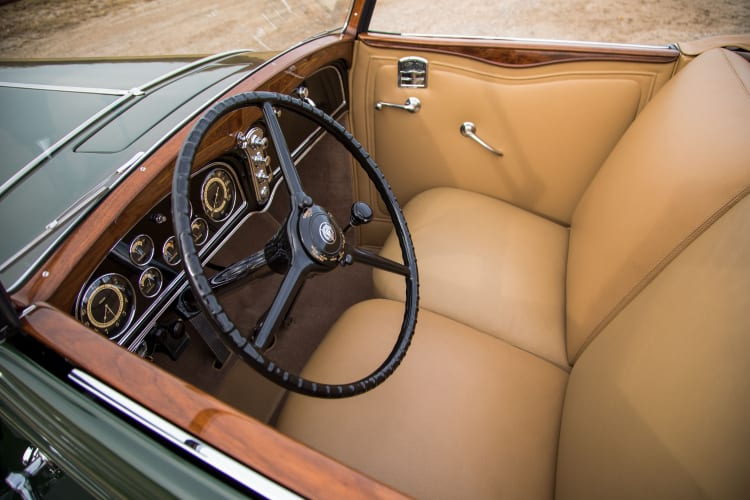 interior of 1932 Cadillac V-16 Convertible Coupe by Fisher