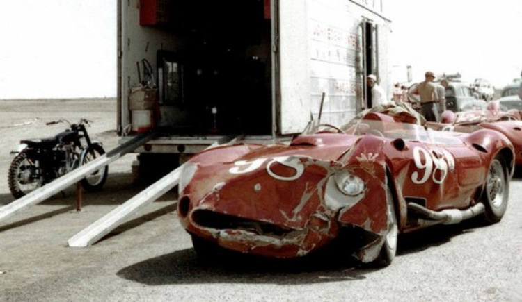 The heavily damaged Edgar Maserati 450S after Shelby spun it into a dirt embankment during race practice