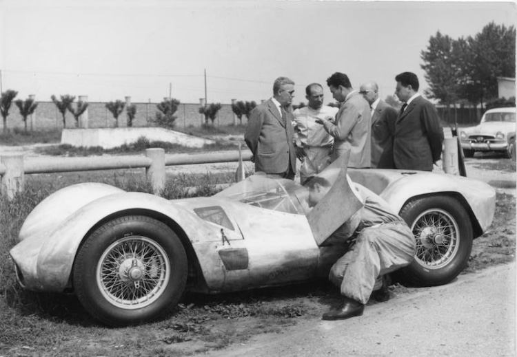 Stirling Moss testing the Maserati Birdcage