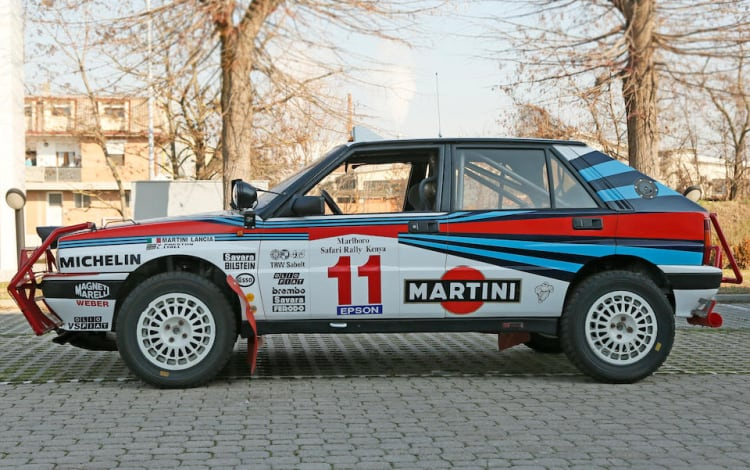 side of 1988 Lancia Delta Integrale 8V Group A Rally Car