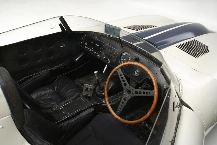 interior of 1960 Jaguar E2A.