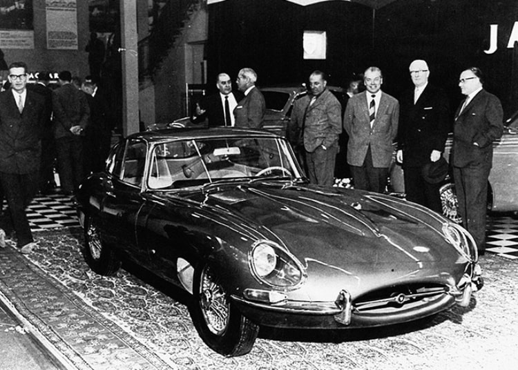 presentation of 1961 Geneva Motor Show E-Type Jaguar