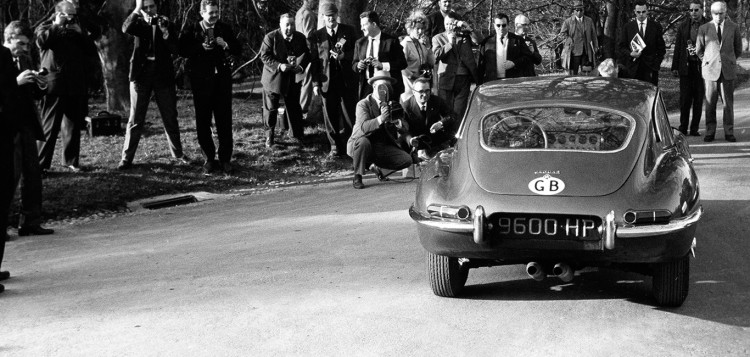 1961 Geneva Motor Show E-Type Jaguar journalists