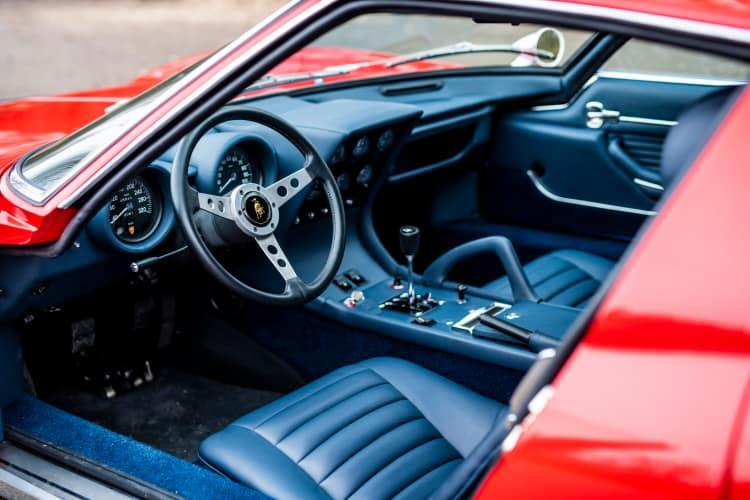 interior of 1971 Lamborghini Miura P400 SV by Bertone