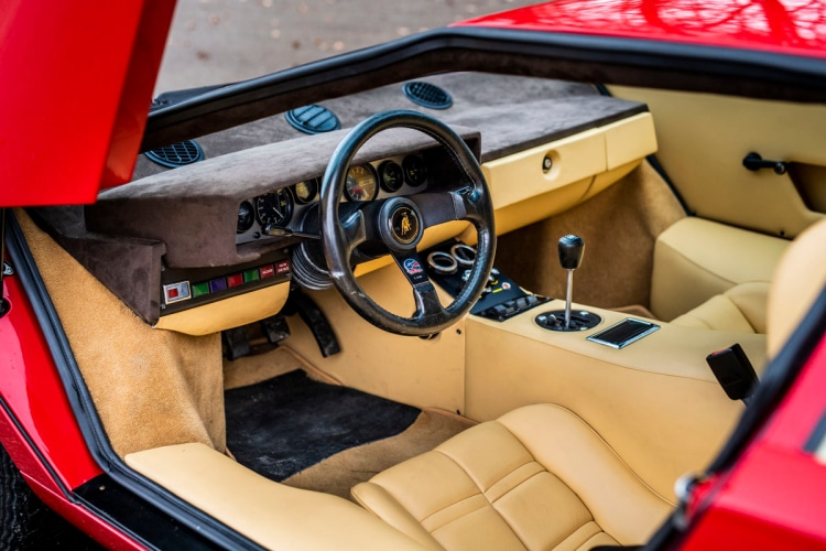 interior of Lamborghini Countach LP400 Periscopio by Bertone
