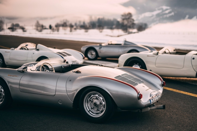 close up of Porsche 550 Spyder with History of the GP Ice Race