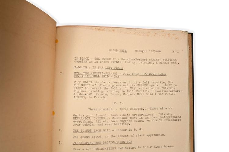 Original Script for the 1966 MGM Film Grand Prix