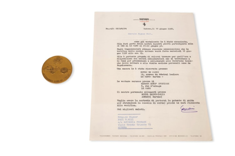 1958 24 Hours of Le Mans Pilote Coin and Signed Letter from Enzo Ferrari to Phil Hill