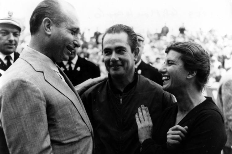 Maria Teresa de Filippis with Juan Manuel Fangio