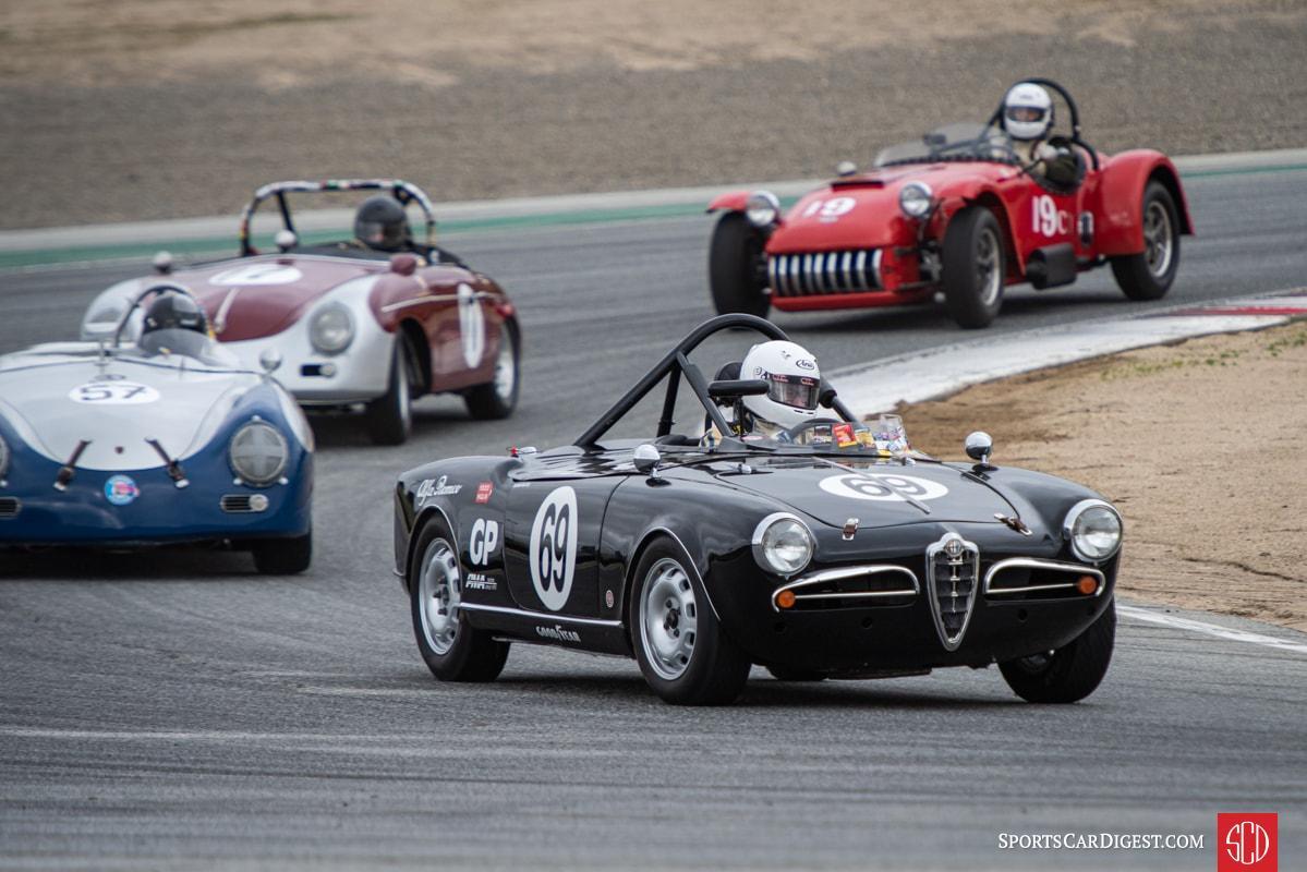 Tancredi D'Amore - 1957 Alfa Romeo Giulietta Spyder *followed by Bill Lyon - 1957 Porsche 356 Speedster, Max Jamiessson - 1957 Porsche 356, and Rob Manson - 1953 Kurtis 500S