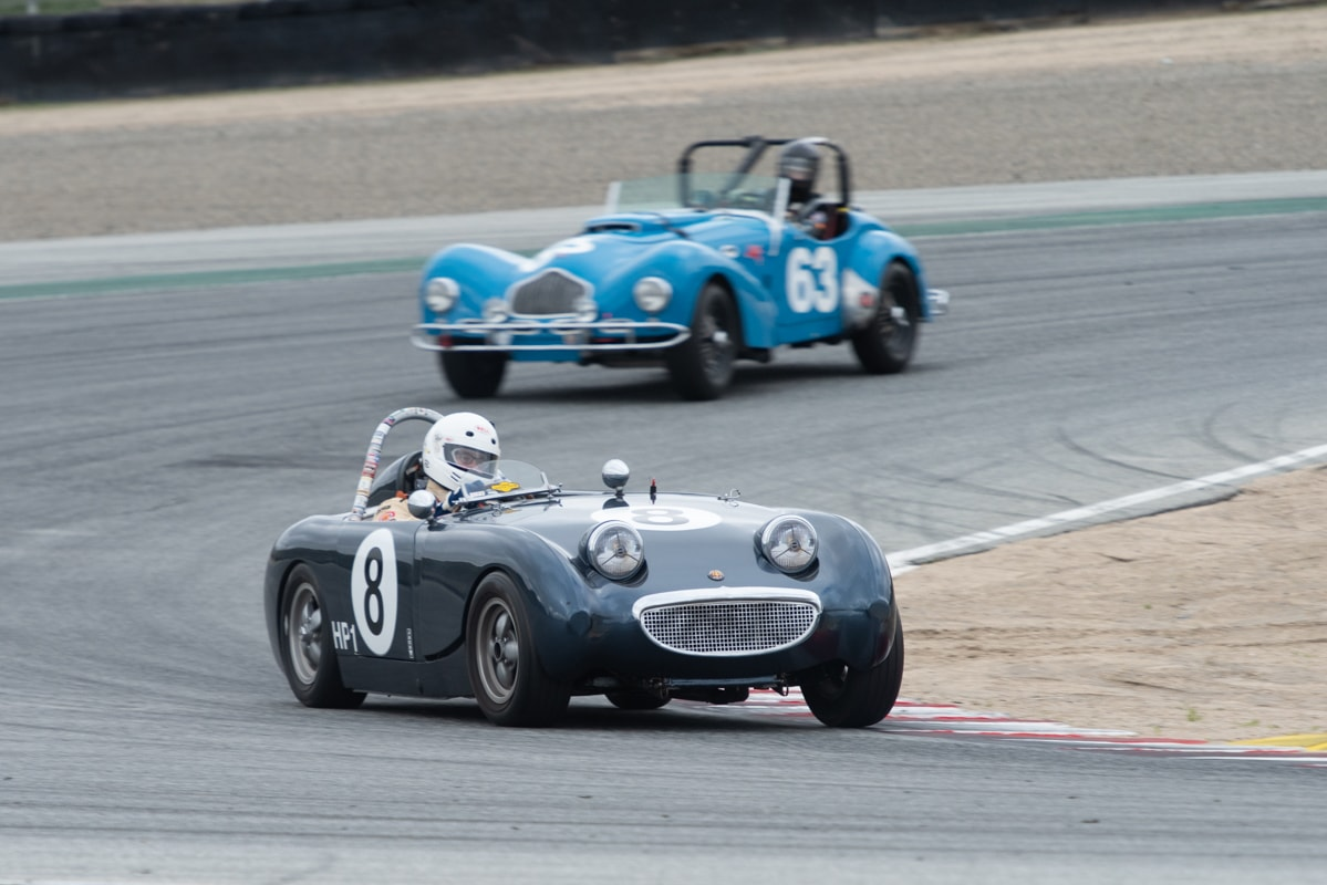Peter Smith - 1958 Austin Healey Sprite followed by John Mote - 1950 Allard K2