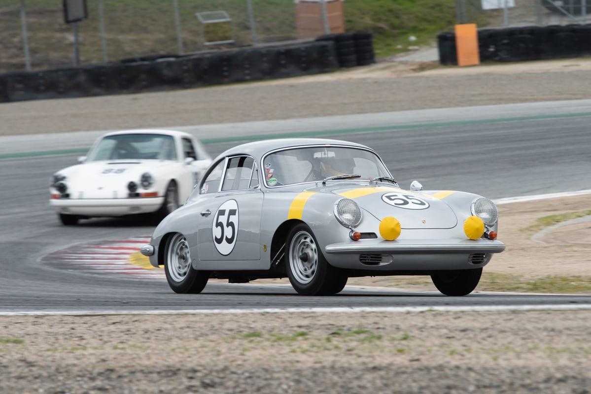 Car #55 is Frank Altamura - 1962 Porsche 356 S90 GT followed by car #88 Giancarlo Altamura - 1966 Porsche 911S