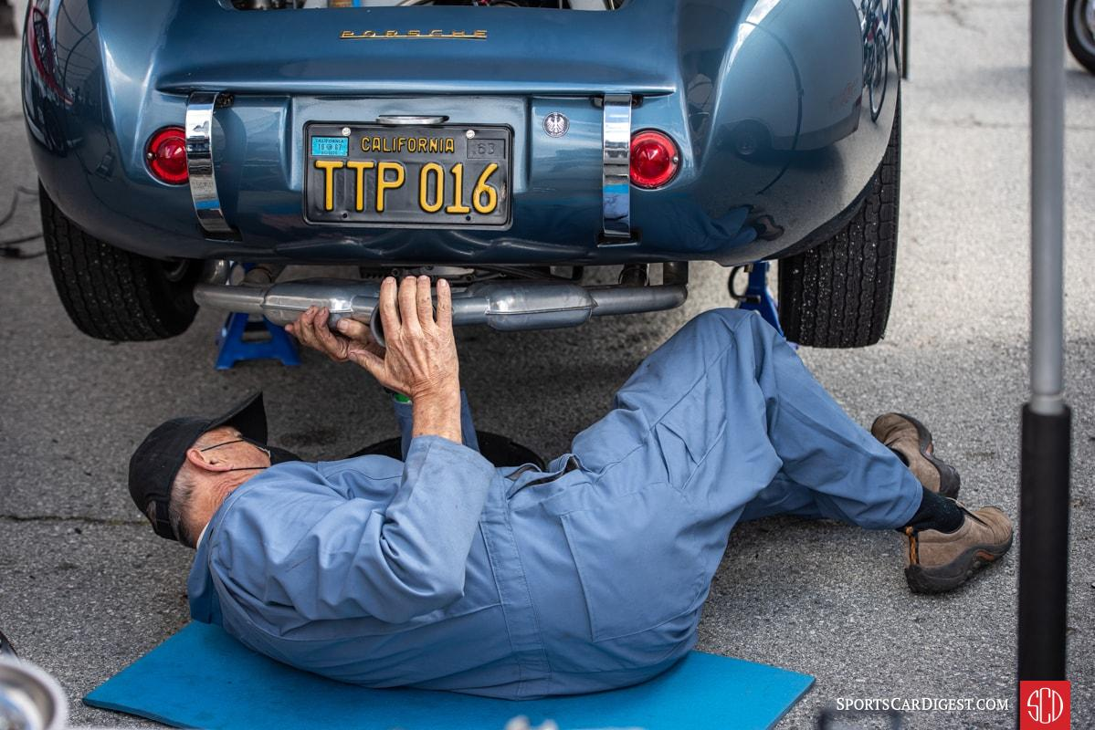 Arthur Conner puts the Sebring exhaust back on his 1959 Devin Special after doing an engine swap