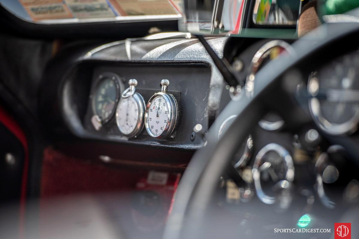 Vintage racing timers in a 1967 Mini Marcos GT Mk 3