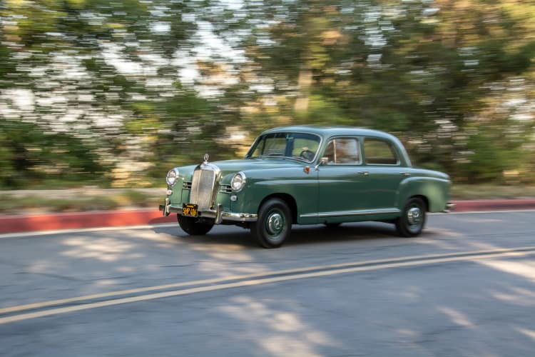 driving the olive green car