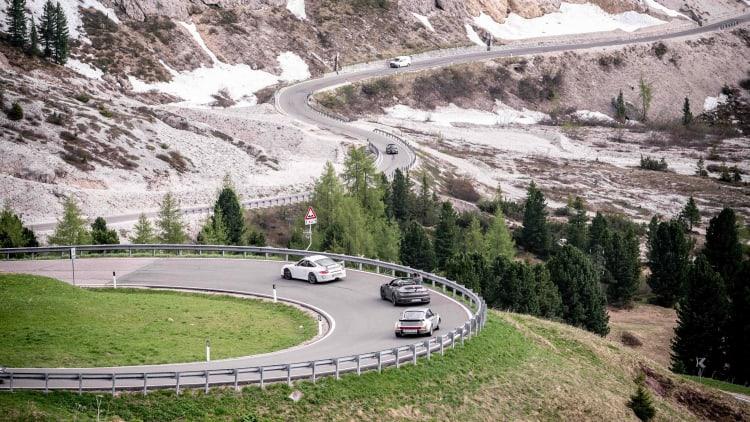 Porsche driving around Sella Ronda
