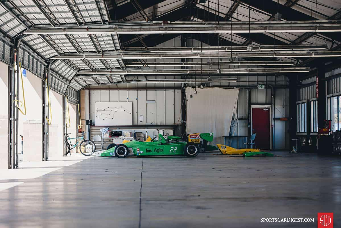 1985 Ralt RT5 Super Vee parked in the garage at Sonoma raceway during the SCRG races